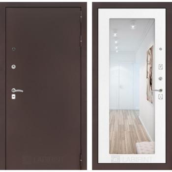 Входная дверь Labirint CLASSIC антик медный с Зеркалом 18 - Белое дерево