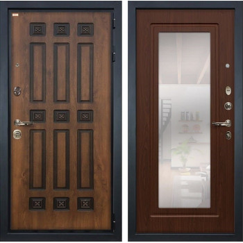 Входная металлическая дверь Лекс Гладиатор 3К Винорит с Зеркалом Берёза мореная (панель №30)