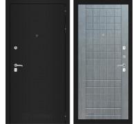 Входная дверь Labirint CLASSIC шагрень черная 09 - Лен сильвер грей