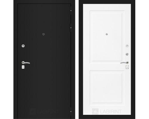 Входная дверь CLASSIC шагрень черная 11 Белый софт
