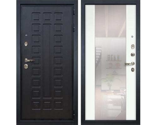 Входная металлическая дверь Лекс Гладиатор 3К Стиль с Зеркалом Ясень белый (панель №61)