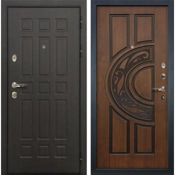 Входная металлическая дверь Лекс 8 Сенатор Голден патина черная (панель №27)