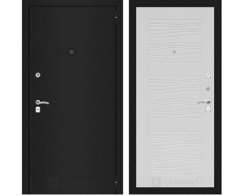 Входная дверь Labirint CLASSIC шагрень черная 06 - Белое дерево