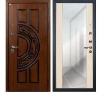 Входная металлическая дверь Лекс Спартак Cisa Стиль с Зеркалом Белёный дуб (панель №45)