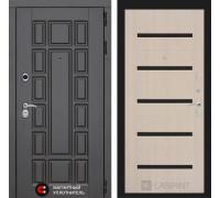 Входная дверь Labirint Нью-Йорк 01 - Беленый дуб, стекло черное