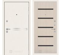 Входная дверь Labirint Лайн WHITE 01 Беленый дуб, стекло черное