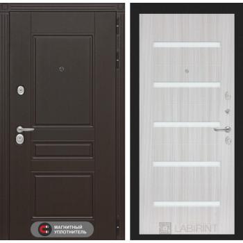 Входная дверь Labirint Мегаполис 01 - Сандал белый, стекло белое