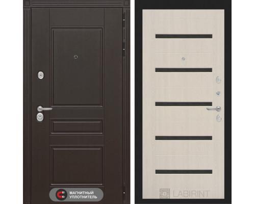 Входная дверь Labirint Мегаполис 01 - Беленый дуб, стекло черное