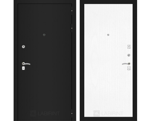 Входная дверь Labirint CLASSIC шагрень черная 07 - Белое дерево