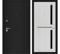 Входная дверь Labirint Classic шагрень черная 02 - Сандал белый