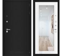 Входная дверь Labirint CLASSIC шагрень черная с Зеркалом 18 - Белое дерево
