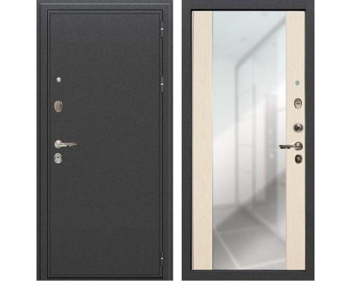 Входная металлическая дверь Лекс Колизей Стиль с Зеркалом Дуб беленый (панель №45)