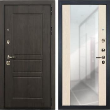 Входная стальная дверь Лекс Сенатор Винорит Стиль с Зеркалом Белёный дуб (панель №45)