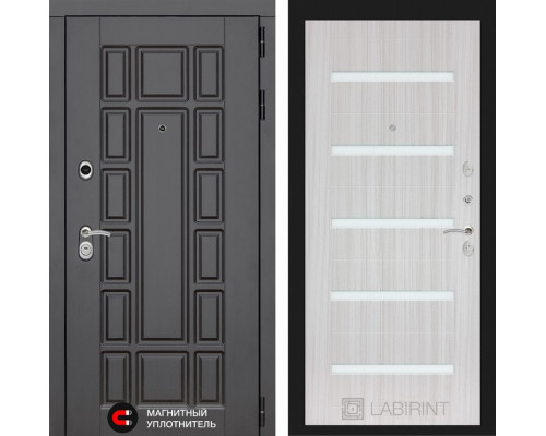 Входная дверь Labirint Нью-Йорк 01 - Сандал белый, стекло белое