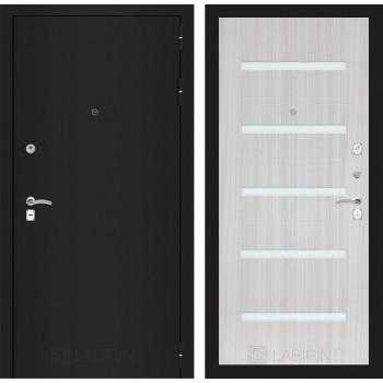 Входная дверь Labirint CLASSIC шагрень черная 01 - Сандал белый