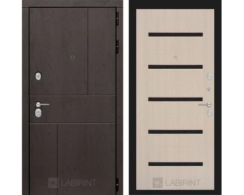 Входная дверь Labirint URBAN 01 Беленый дуб, стекло черное