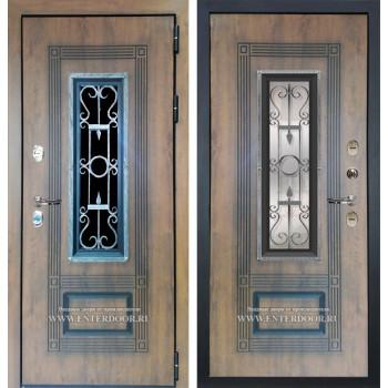 Входная дверь с терморазрывом Лекс Термо Русь с окном и ковкой (Голден патина)