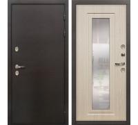 Входная дверь с терморазрывом Лекс Термо Сибирь 3К с Зеркалом Беленый дуб (панель №23)