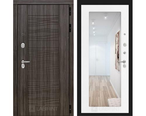 Входная дверь Labirint SCANDI Дарк грей с Зеркалом 18 - Белое дерево