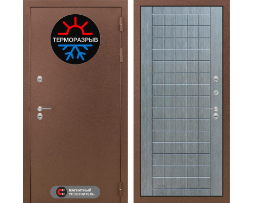 Входная дверь с терморазрывом Labirint Термо Магнит 09 Лен сильвер грей