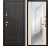 Входная металлическая дверь Лекс 8 Сенатор Стиль с зеркалом Дуб белёный (панель №45)