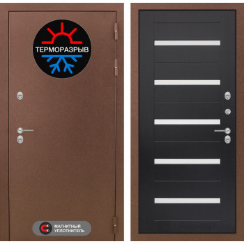 Входная дверь с терморазрывом Labirint Термо Магнит 01 Венге, стекло белое