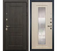 Входная стальная дверь Лекс Сенатор Винорит с Зеркалом Белёный дуб (панель №23)