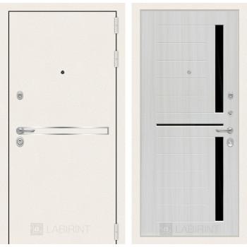 Дверь входная качественная Лайн WHITE 02 Сандал белый, стекло черное