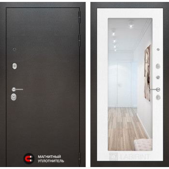Входная дверь Labirint SILVER с Зеркалом 18 - Белое дерево