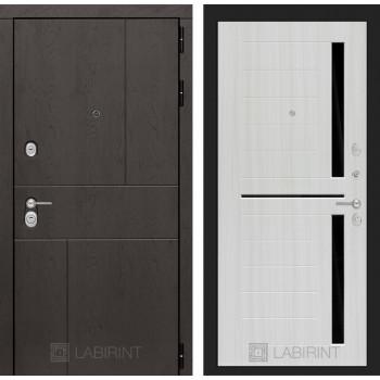 Входная дверь Labirint URBAN 02 - Сандал белый, стекло черное