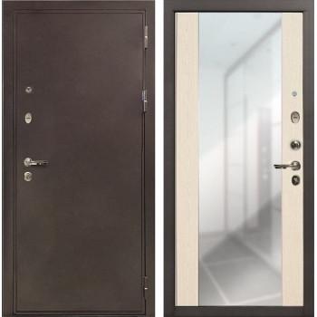 Входная металлическая дверь Лекс 5А Цезарь Стиль с Зеркалом Беленый дуб (панель №45)
