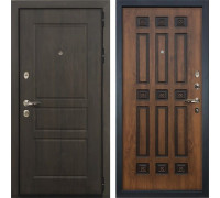 Входная стальная дверь Лекс Сенатор Винорит Голден патина черная (панель №33)