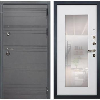 Входная дверь Лекс Сенатор 3К Софт графит с Зеркалом (№37 Ясень белый)