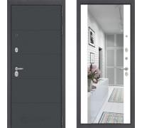 Металлическая дверь в квартиру Labirint ART графит с зеркалом Макси Белый Софт