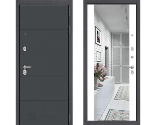 Металлическая дверь Labirint ART графит с зеркалом Макси Белый Софт