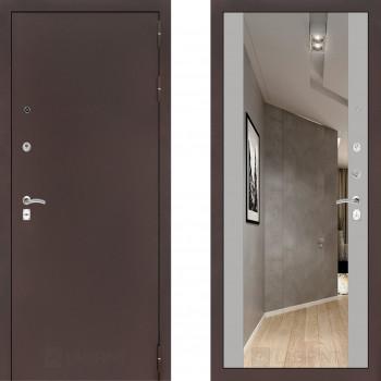 Входная металлическая дверь с зеркалом Labirint Classic антик с зеркалом Макси Софт Грей