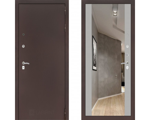 Металлическая дверь Labirint Classic Антик с зеркалом Макси Софт Грей