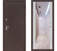 Входная металлическая дверь Labirint Classic Антик с зеркалом Макси Сандал Белый