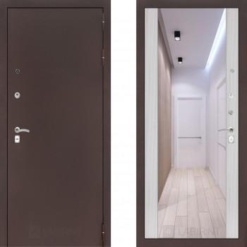Входная металлическая дверь с зеркалом Labirint Classic антик с зеркалом Макси Сандал Белый