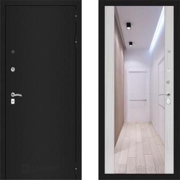 Входная металлическая дверь с зеркалом Labirint Classic шагрень с зеркалом Макси Сандал Белый