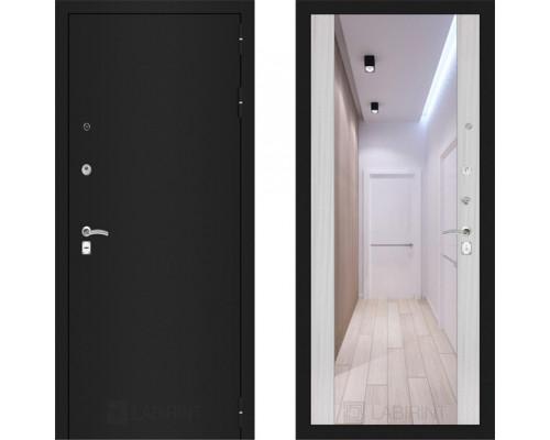 Металлическая дверь Labirint Classic Шагрень с зеркалом Макси Сандал Белый