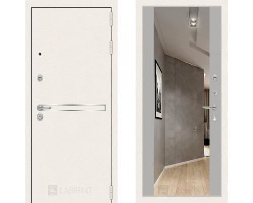Металлическая дверь Labirint Line White с широким зеркалом Серый Софт