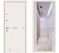 Металлическая дверь Labirint Line White с широким зеркалом Сандал Белый