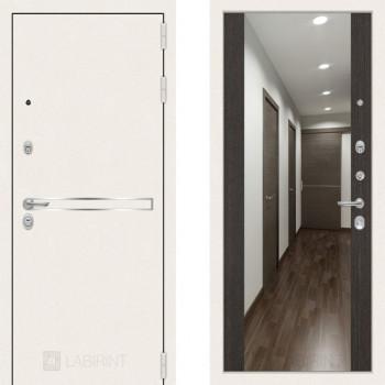 Металлическая дверь Labirint Line White с широким зеркалом Венге