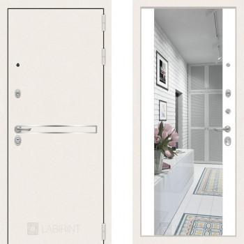 Входная зеркальная дверь Labirint Line White зеркало Белый Софт (белые двери с зеркалом в квартиру)