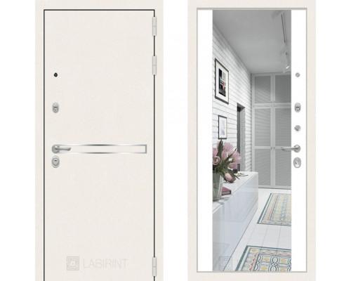 Входная металлическая дверь Labirint Line White зеркало Белый Софт