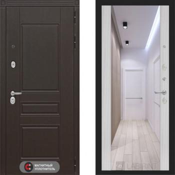 Входная металлическая дверь Labirint Megapolis Макси Сандал Белый зеркало