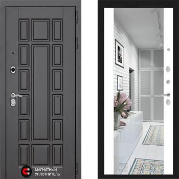 Входная металлическая дверь с зеркалом Labirint New York с зеркалом Макси Белый Софт