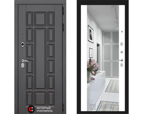 Входная металлическая дверь Labirint New York с зеркалом Макси Белый Софт