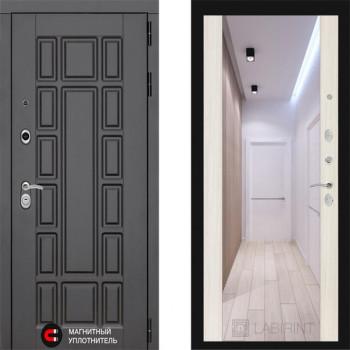 Входная металлическая дверь с зеркалом Labirint New York с зеркалом Макси Сандал Белый